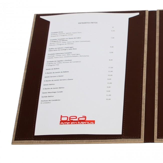 19 - AWEM326 - Ementa A4 Madeira Laminada - 15x32 - 19x32 com interior com guias livro cheques