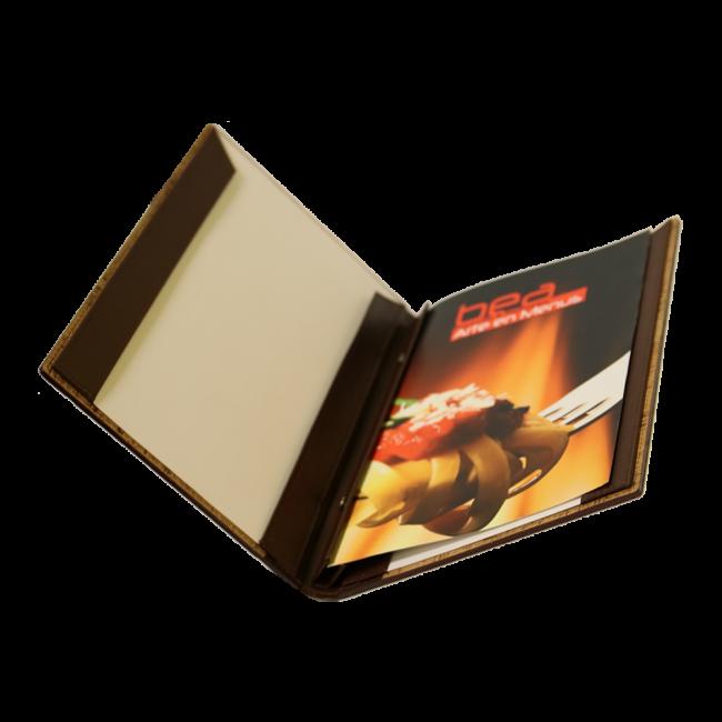 7 - AWEM314 - Ementa 19x32 versos formato livro de cheques carcela parafusos de metal