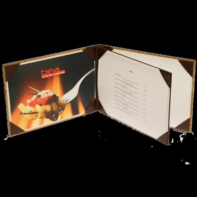 10 - AWEM4003-1F - Ementa Transversal A4 Bicolor de cantos cozidos e topada