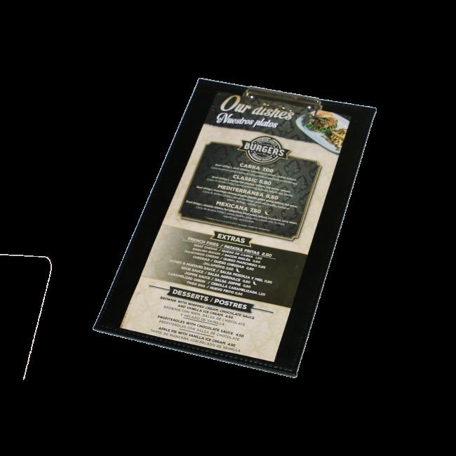 156 - AWEM6651 - 22,5x36  Tabua de Ementa de pele com mola para suporte de ementes - Carta de Bar Entrada Nova REferencia Site